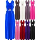 New Womens Plus Size Buckle Waisted Tie Back Evening Long Maxi Dress 8-26 UK