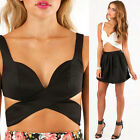 WOMENS SYNTHETIC LEATHER PARTY BUSTIER BRA CROP TOP SIZE C0432#