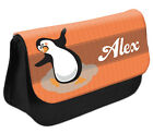 PERSONALISED Penguin Pencil Case Make up Bag - Kids School Great Gift Idea DS