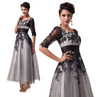 Vintage Elegant Lace Long Bridesmaid Wedding Formal Evening Ball Gown Prom Dress