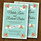 Personalised Wedding Save The Date Cards with Envelopes *Blossom Mint Coral