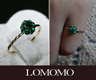 Girls 18K Rose Gold Plated Green Half Ball Pinky Finger Statement Ring R467