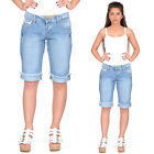 New Blue Faded Distressed Long Denim Shorts Frayed Ends Capri 3/4 Length Jeans