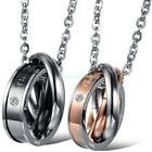 """Stainless Steel """"The only eternal love"""" Three Rings Pendant Couple's Necklaces"""