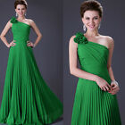 Sexy Floral One Shoulder Long Chiffon Prom Bridesmaid Dress Evening Wedding Gown