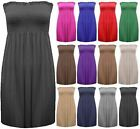 New Womens Strapless Boobtube Bandeau Ladies Sheering Gather Dress Vest Top 8-26