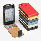 For iPhone 4 4s 5/5S/SE 5c 6 6s Genuine Leather Wallet Case Slim Top Flip Cover