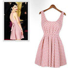 Cute Party Crew Neck Polka Dot Vintage Dresses With The Back Invisible Zipper