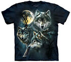 Moon Wolves Collage Adulto  Animals Unisex T Shirt The Mountain