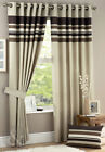 Striped Curtains - Chocolate Brown & Cream Eyelet Fully Lined Curtain Pair