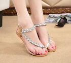 Gorgeous Shiny Gladiator T-Strap Rhinestone Chic Womens Low Wedge Thong Sandals