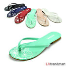 Women's T-Strap Thong Flip Flops Casual Flats Sandal Slippers Soda Shoes Branta