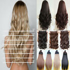 uk shipping curly/wavy/straight clip in hair extensions 5 clips human made salon