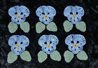 Hand Dyed Crochet Thread Beaded Applique Embellishments Pansy/Flowers w Leaves