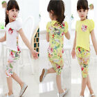Baby Girls Toddler Flower Tees Pants Outfit Short Sleeve T-Shirt Summer Clothes