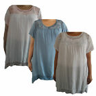 Womens ladies plus size summer plain top tunic smock baggy cotton casual 16- 20