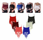 LADIES FRILL LACE FLORAL DIP HANDERCHIEF STRAPPY CROP HANKY HEM CAMI VEST TOP