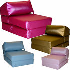 Faux Leather Single Chair Bed Z Guest Fold Out Futon Sofa Chairbed Matress foam