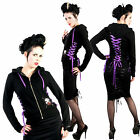 Hell Bunny Purple Lace Up Hoodie Gothic Warm Rockabilly Pinup
