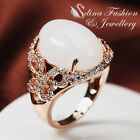 18K Rose Gold Plated Simulated Opal Diamond Studded Large Butterfly Band Ring