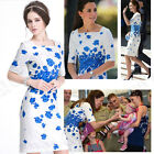 WHITE FLORAL DRESS BLUE POPPY PRINT KATE STYLE AUSTRALIA HOLIDAY BEACH TRIP UK