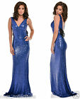 BLUE PLUNGE FULL STRETCH SEQUIN LOW BOW BACK FISHTAIL MAXI DRESS UK SIZE 8-16
