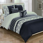 Chelsea Black 5pc Duvet Cover Set Embroidered with Pillows and Pillow Shams
