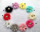 "10color 3.5""Lace Mesh hair Flowers shiny crystal center flat back DIY corsage"