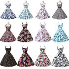 HOT VINTAGE 50S 60S STYLE FLORAL ROCKABILLY PARTY SWING PROM EVENING DRESS S~XL