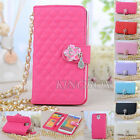 PU Leather Handbag Purse Wallet Case Cover + Pearl Metal Chain for Samsung Phone