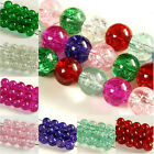 100 x PURPLE~ROUND~CRACKLE~GLASS BEADS~OR~CHOOSE COLOUR, 8 MM~1.5 MM HOLE