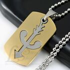 Men Stainless Steel Bow and Arrow 2 in 1 Gold Tone Dog Tag Pendant Necklace M17