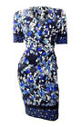 Marks & Spencer navy v neck fitted stretchy shift dress printed with leaves cros