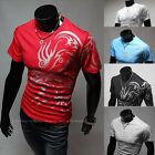 Mens Round Neck Short Sleeve Muscle Casual Slim Fit Ribbed Tee T Shirt Tops