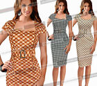Womens Vintage Belted Tartan Check Tunic Cocktail Party Bodycon Pencil Dress 730