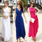 Women Long Maxi Skirt Summer Beach Gown Party Prom Evening Dress Sundress 4Color
