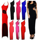 NEW LADIES ONE SHOULDER CUT OUT SPLIT FRONT BODYCON WOMENS LONG MAXI PARTY DRESS