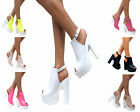 LADIES WOMENS CLEATED SOLE HIGH HEEL CHUNKY PLATFORM BOOTS SANDALS SHOES SIZE