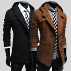 Stylieh Mens Midi Length Trench Warm Hoodies Coat Jacket Outerwear Overcoat Tops