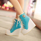 Women Lady Lace Up High Heels Platform Ankle Boots Trainers Girls Wedge Shoes SZ