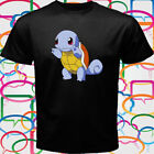 New Cute Squirtle Pokemon Men's Black T-Shirt Size S to 3XL