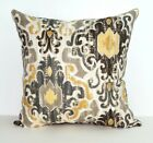 Toroli Sterling Ikat Taupe, Grey, Mustard Damask Print Decorative Throw Pillow