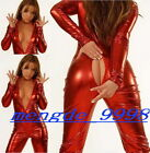 NEW SUIT RED SHINY METALLIC SEXY BODY CATSUIT COSTUMES With Long Zipper #X132