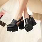 Hot Retro Womens Round Toe Cut Out Chunky High Heels Gothic Platform Pumps Shoes