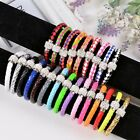 PU Leather Wrap Wristband Cuff Punk Magnetic Rhinestone Buckle Bracelet 24 Color