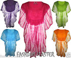 Womens New Ladies Summer Colors Batwing Poncho Blouse Top Kaftan Plus Size Dress