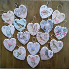 Hanging heart wall plaque decoration Vintage birds florals roses Chic and shabby