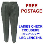 New Ladies Check Elasticated Waist Trousers In Size 12 14 16 18 20 22 24 & 26