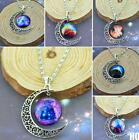 HO AU Women Galactic Glass Cabochon Pendant Silver-Tone Crescent Moon Necklace