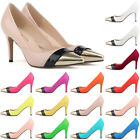 WOMENS Patent PU leather HEELS CORSET  WORK PUMPS COURT SHOES 952-2 UK SIZE 2-9